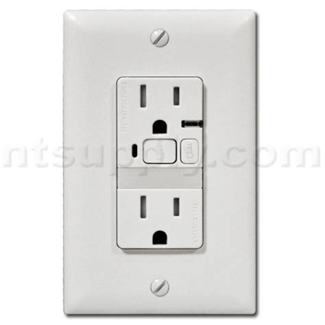buy bathroom kitchen gfci outlet with nightlight white