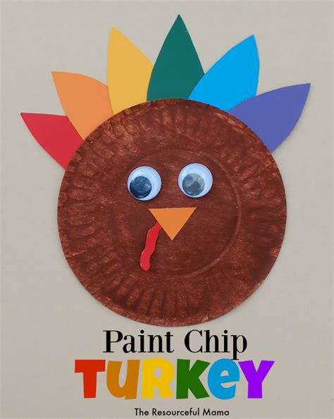 How To Make A Turkey With A Paper Plate - paint chip turkey kid craft the resourceful
