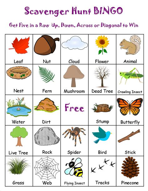 printable nature board games scavenger hunt bingo cing pinterest cing and