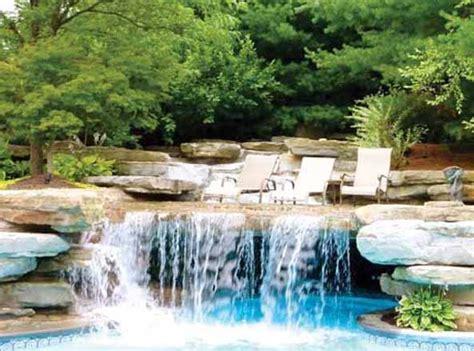 backyard grotto backyard pool with waterfall and grotto outdoors
