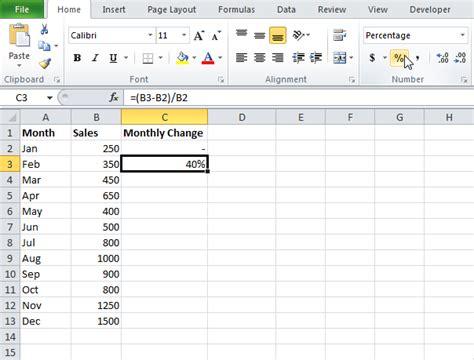 percent change formula in ms excel