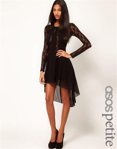 Vintage Lace Insert High Low Dress lyst asos lace insert skater dress with high low hem in black