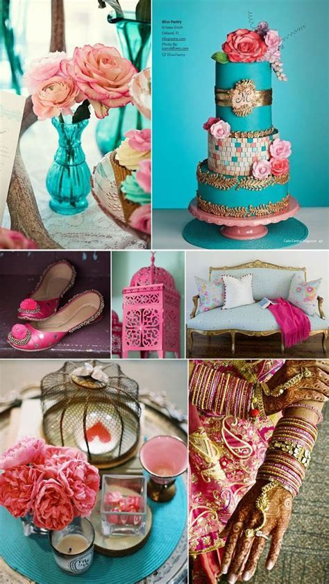 Turquoise, pink and gold makes such a pretty wedding color