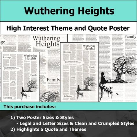 common themes in wuthering heights and pride and prejudice visual theme quote posters