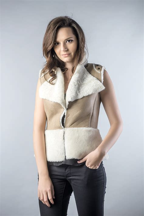light brown vest womens shearling vest for