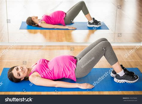 Pregnancy Mat by Beautiful Fitness Exercise Stock Photo