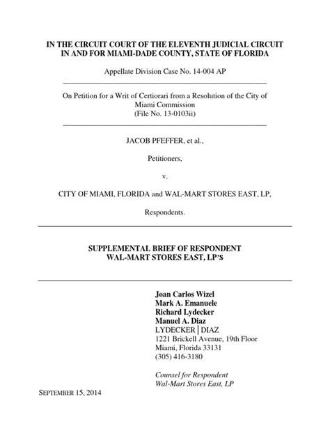 Walmart Attorneys Explain 4+1=3 in 11 page brief | Brief