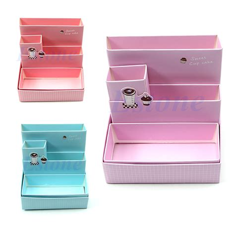 Desk Makeup Organizer Paper Board Storage Box Desk Decor Diy Stationery Makeup Cosmetic Organizer Ebay