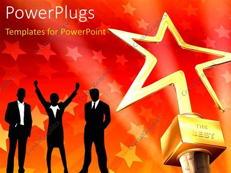 Powerpoint Template 3d Gold Star Award On Red Stars Awards Presentation Template