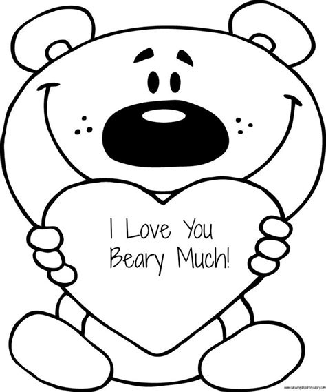 love you coloring pages print free valentine s quot i love you beary much quot coloring page
