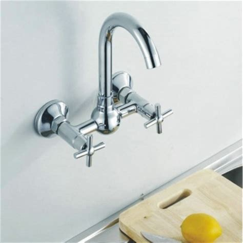 Single Handle Wall Mount Kitchen Faucet by Wall Mounted Kitchen Tap Double Handle Cold Mixer Tap