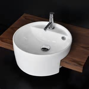 semi recessed bathroom sinks lacava 5054 42 set semi recessed porcelain sink with