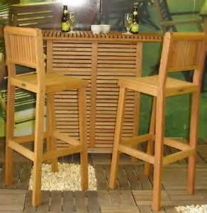 Outdoor wooden bar two stools amp bar table patio dining furniture set