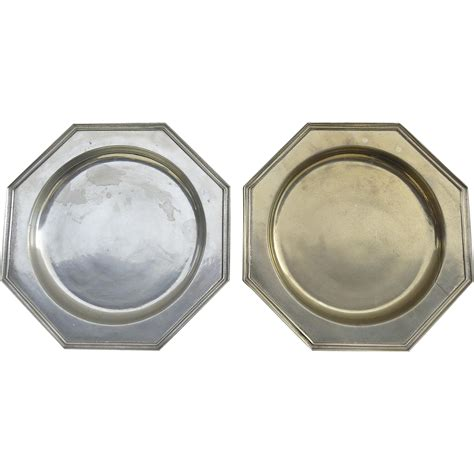 pewter charger pair of vintage octagonal armatel wilton pewter chargers