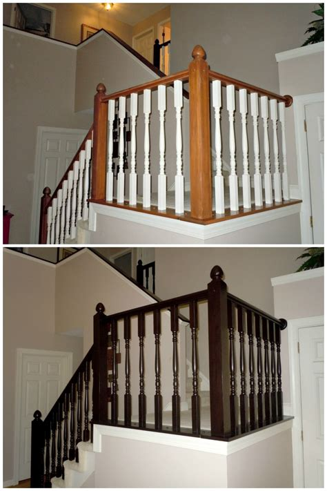 Restaining Banister Rail by Remodelaholic Diy Stair Banister Makeover Using Gel Stain
