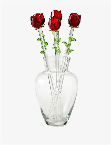 rose in glass eros red glass rose bouquet with vase stage stores