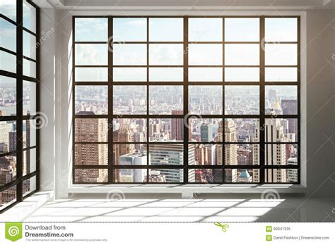 celing window floor to ceiling windows with city view stock photo