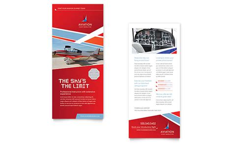 rack card template for pages aviation flight instructor rack card template design