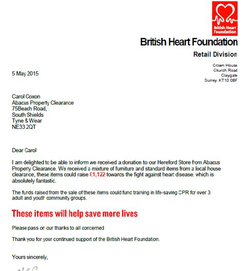 charity shop letter abacus house clearance supports the