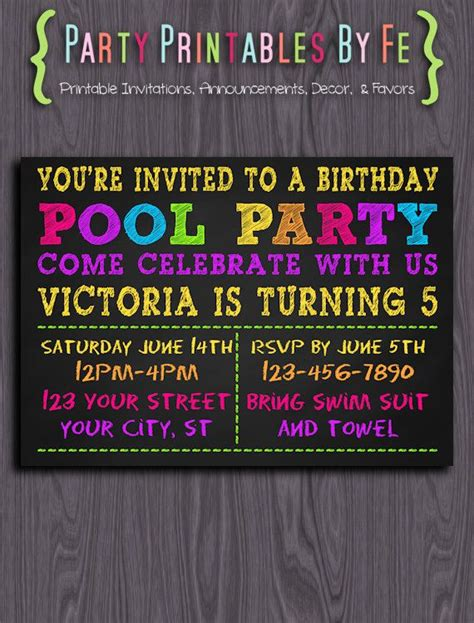 trendy blue neon chalkboard birthday printable birthday invitation chalkboard neon pool birthday i123 invitaciones