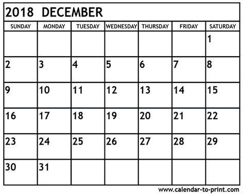 printable calendar 2018 january to december december 2018 calendar printable