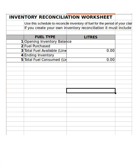 Inventory Spreadsheet Exle 11 Free Excel Documents Download Free Premium Templates Reconciliation Template In Excel