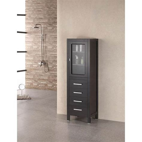 Linen Cabinet Doors Espresso Contemporary Linen Cabinet W Glass Door Design Element Freestanding