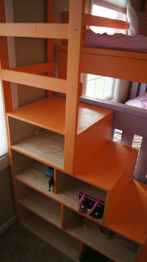 simple bunk bed   triple twist  cubby steps ana