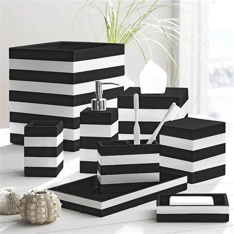 Black And White Bathroom Accessories Sets Black And White Cabana Black By Kassatex