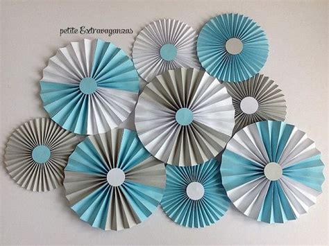 Paper Rosettes - paper rosettes fans light blue gray white