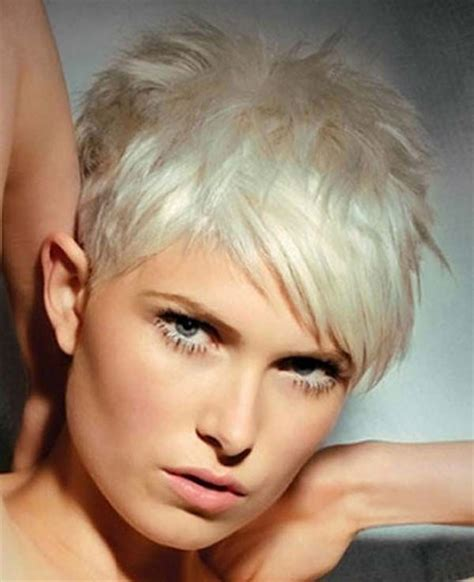 platinum pixi cut with brown highlights best hair colors for short hair short hairstyles 2017