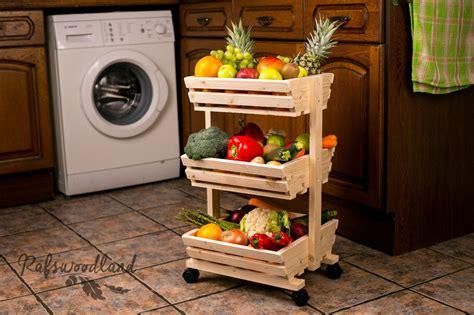 3 Tier Wooden Vegetable Rack Fruit Food Storage Rack On Vegetable Rack For Kitchen
