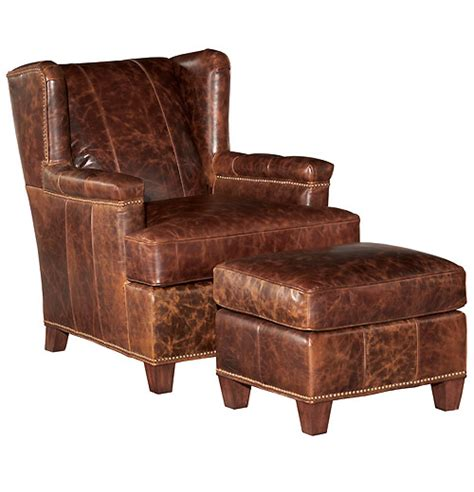 rustic leather chair and ottoman discount upholstered dining chairs chair pads cushions