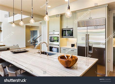 kitchen house kitchen interior island sink stock photo