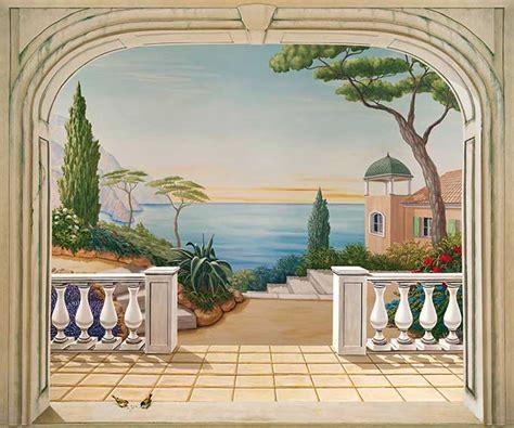 poster mural pour cuisine poster trompe l oeil paysage italien balustres trompe l