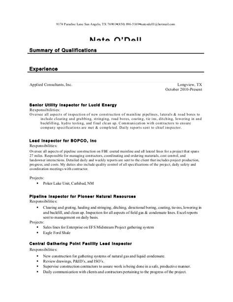 Utility Inspector Sle Resume by Nate Odell Inspector Resume