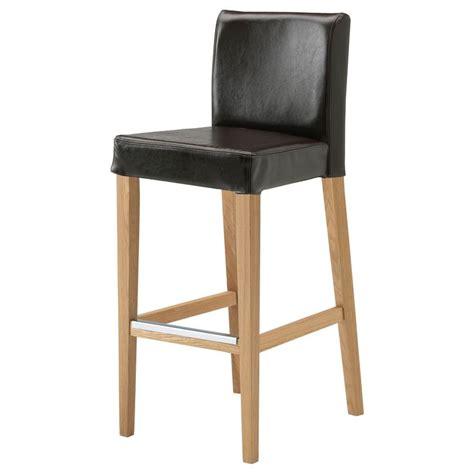 ikea bar stools leather henriksdal bar stool with backrest oak fr 228 sig dark brown