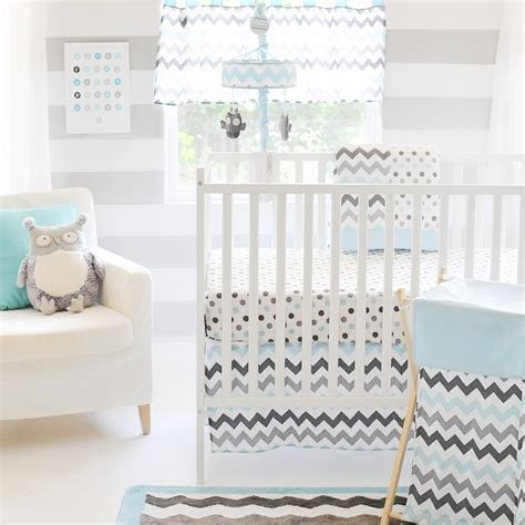 Aqua And Gray Chevron Crib Bedding Chevron In Aqua Gray Crib Bedding Set And