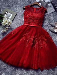beautiful red cocktail dress 2016 short lace party dress