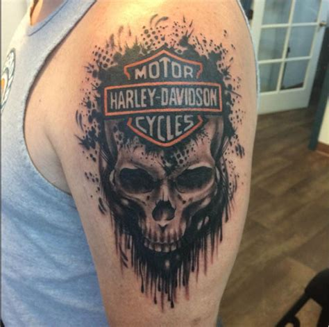 devotion tattoo harley davidson owners tend to their bike with