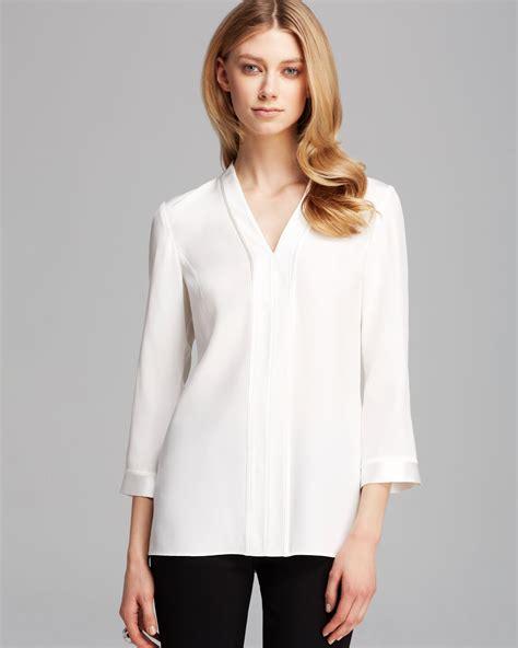 White Silk Blouse V Neck by Lafayette 148 New York V Neck Silk Blouse In White Cloud