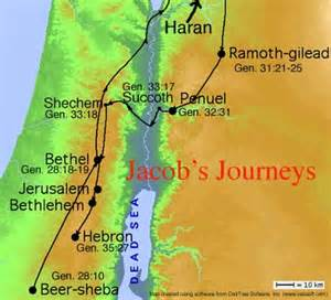 Map of jacobs journey http bibletrack org notes image jacob journey