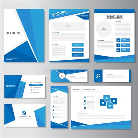 Brochure And Business Card Template by Blue Business Brochure Flyer Leaflet Presentation Card