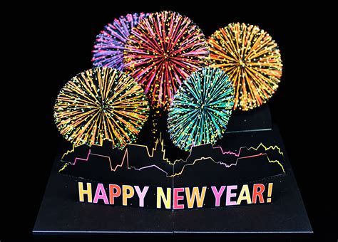 New Year Pop Up Card Template by Rice Library Maine