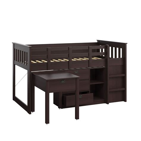 Madison Rich Espresso Single Twin Loft Bed With Desk And Bed And Desk