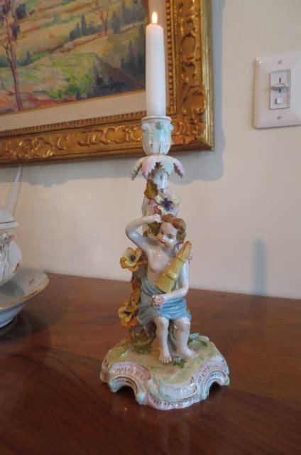 item cp  rare pair  dresden candlesticks holders