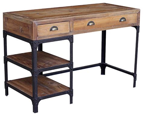 industrial desk with hutch luca reclaimed wood and iron industrial loft desk