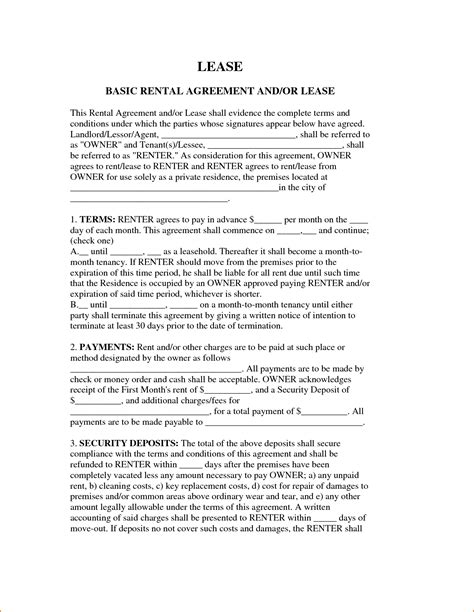 printable lease agreement simple 8 simple rental agreement form printable receipt