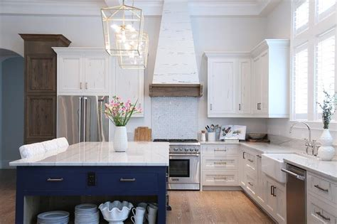 Cypress Kitchen Cabinets White And Navy Blue Kitchen With White Pecky Cypress Range Cottage Kitchen