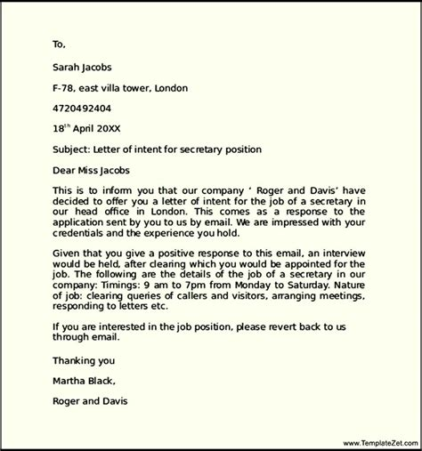 Letter Of Intent For Research Position letter of intent for a within the same company templatezet